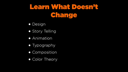 design, storytelling, animation, typography, composition, color theory