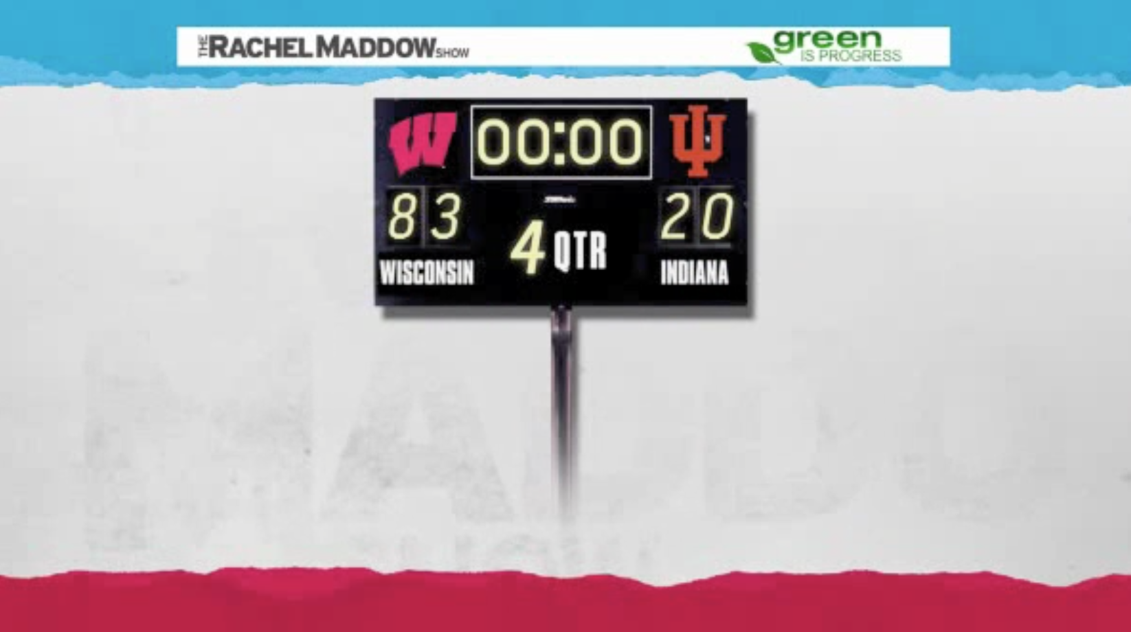 The scoreboard for the game. Wisconsin scored 83 points. Indiana scored 20 points.