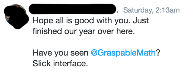 A tweet where someone asks my impressions about Graspable Math.