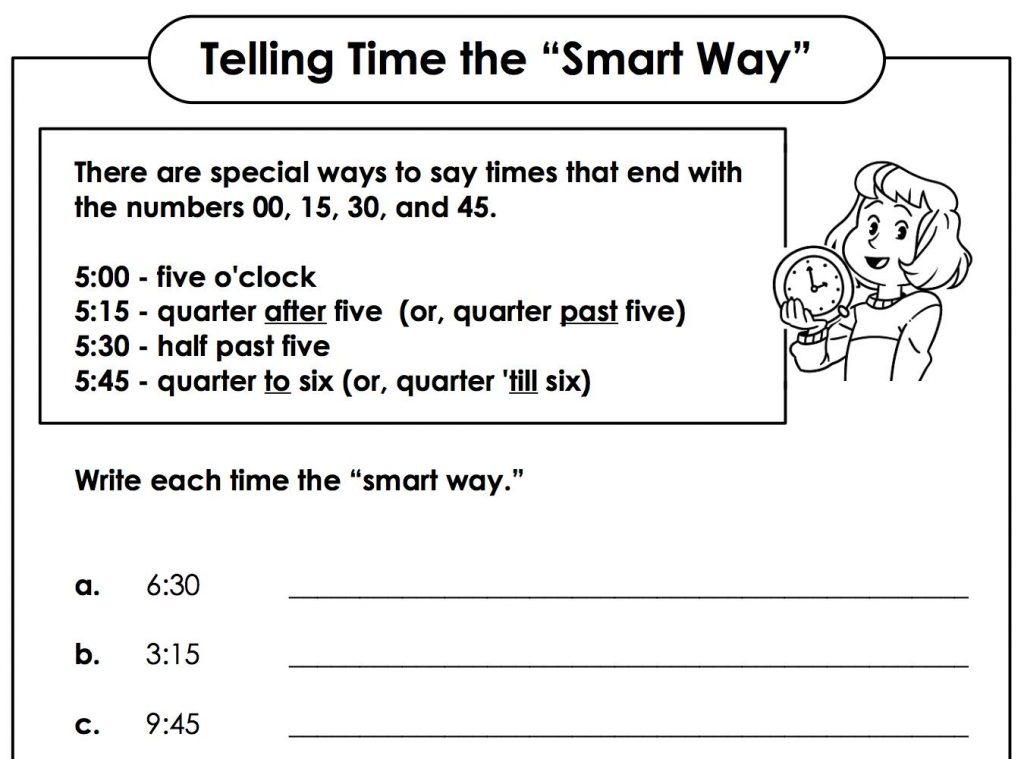 A worksheet that asks students to use the 'smart way' to tell time.