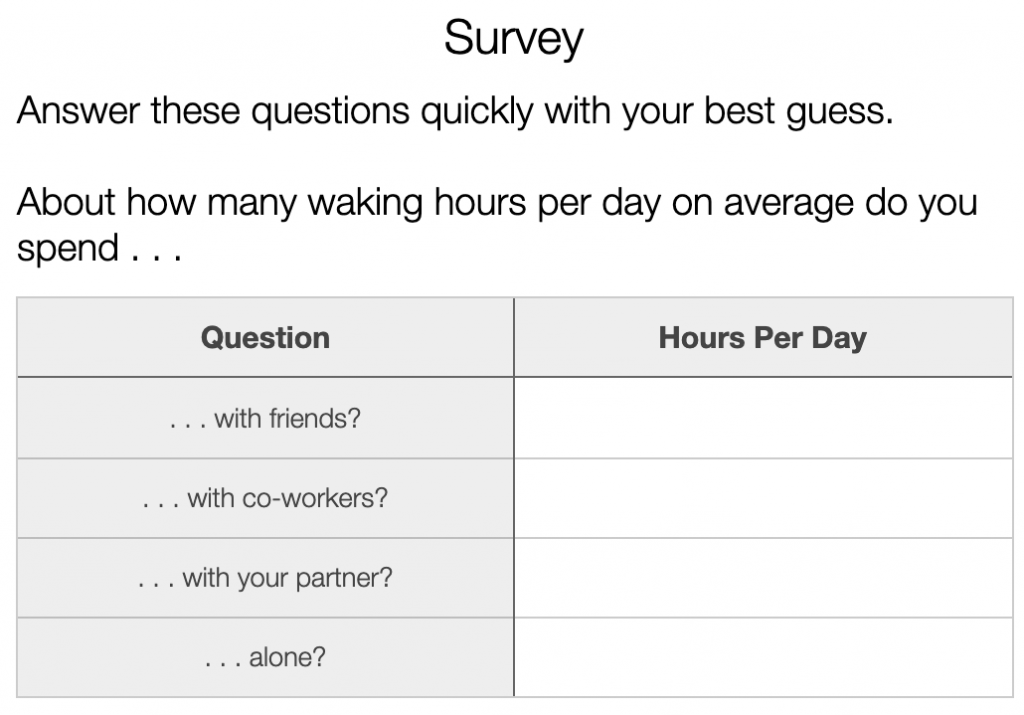 A table asking students to describe their OWN time usage.