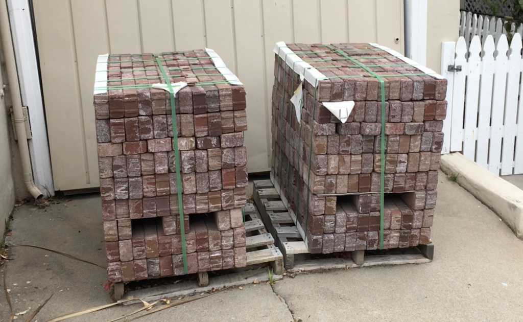 bricks stacked in an interesting way on a pallet